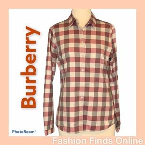 Burberry Brit Long Sleeve Checkered Top Sz Small